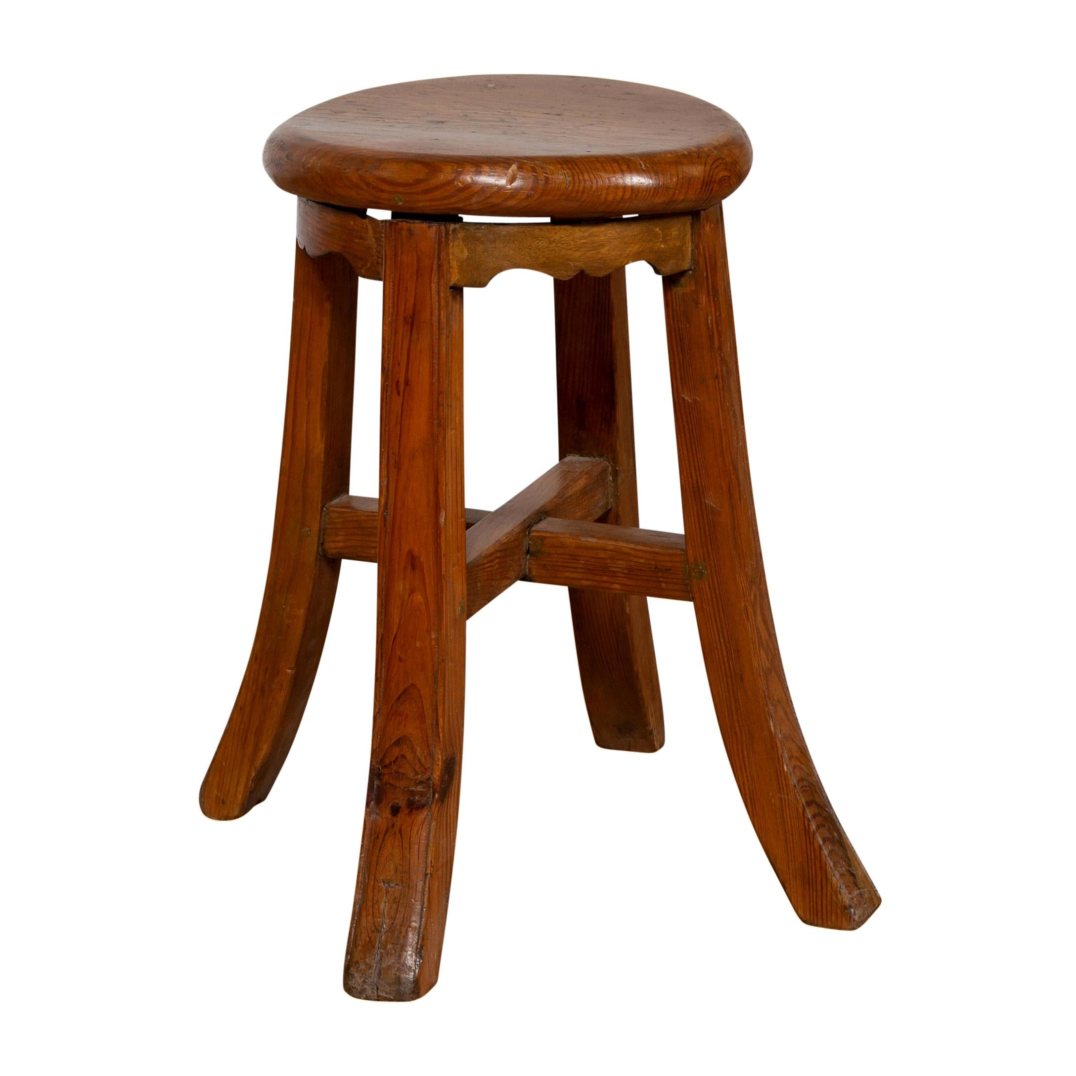 Chinese Antique Elmwood Stool with X-Form Cross Stretcher and Splaying Legs