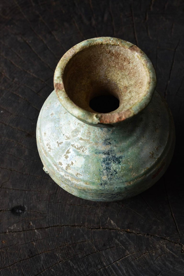 Chinese Antique Han Dynasty Green Glazed Silver Jar, 1st-3rd Century For Sale 3
