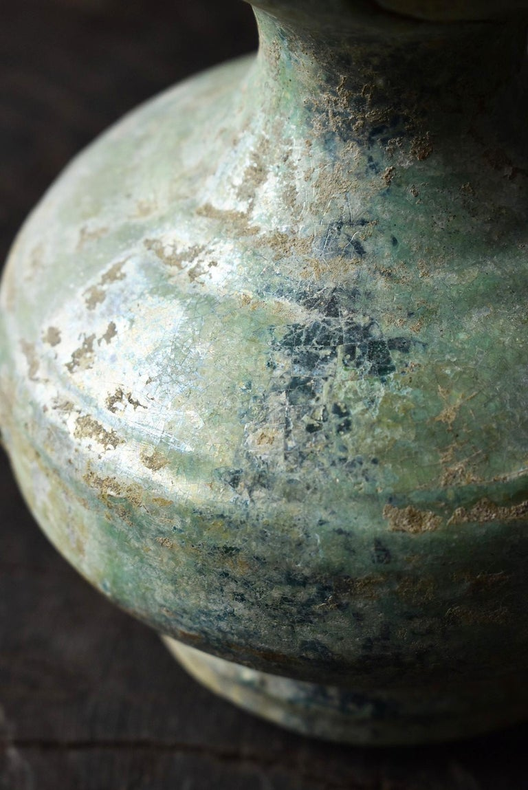 Chinese Antique Han Dynasty Green Glazed Silver Jar, 1st-3rd Century For Sale 8