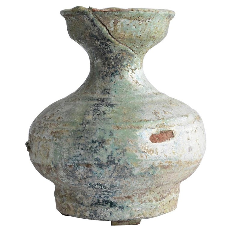 Chinese Antique Han Dynasty Green Glazed Silver Jar, 1st-3rd Century For Sale
