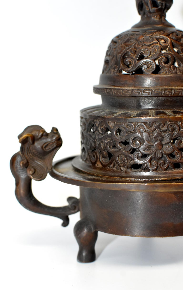 Chinese Antique Incense Burner, Copper Bronze with Dragons, Signed For Sale 7