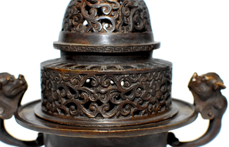 Chinese Antique Incense Burner, Copper Bronze with Dragons, Signed For Sale 10