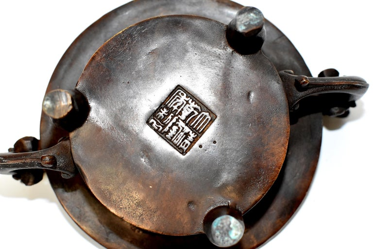 Chinese Antique Incense Burner, Copper Bronze with Dragons, Signed For Sale 11