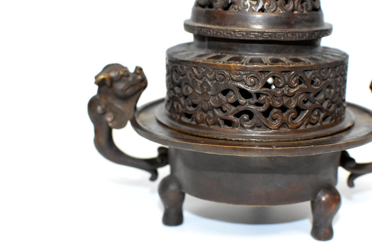 Qing Chinese Antique Incense Burner, Copper Bronze with Dragons, Signed For Sale