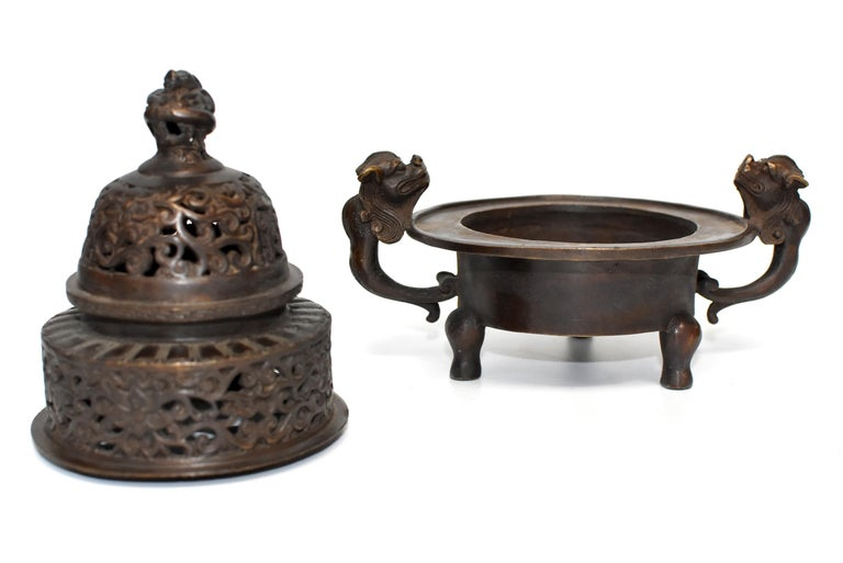 Chinese Antique Incense Burner, Copper Bronze with Dragons, Signed For Sale 3