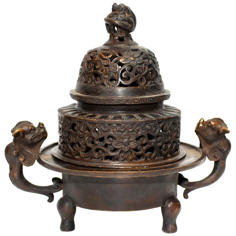 Chinese Antique Incense Burner, Copper Bronze with Dragons, Signed For Sale