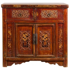 Chinese Antique Lacquered Cabinet with Carved Fretwork and Floral Motifs