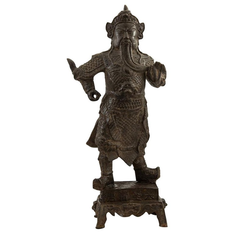 Chinese Antique Ming Dynasty Iron Figure of Guandi For Sale