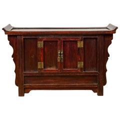 Chinese Antique Ming Dynasty Style Red Rose Console Cabinet with Everted Flanges