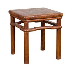Chinese Antique Ming Style Distressed Wood Side Table with Humpback Stretcher