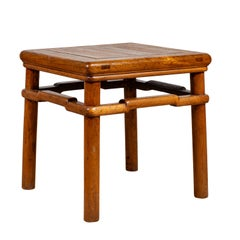 Chinese Antique Ming Style Natural Wood Side Table with Humpback Stretcher