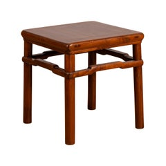 Chinese Antique Ming Style Side Table with Humpback Stretcher and Brown Patina