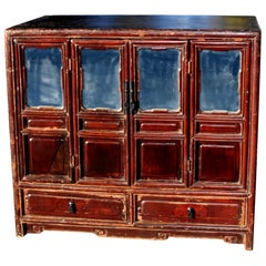 Chinese Antique Mirrored Vanity Kang Chest