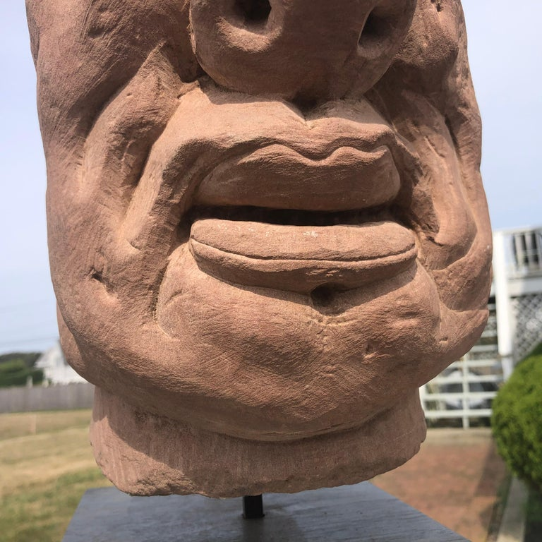 Chinese Old Monumental Hand Carved Stone Garden Monk Sculpture For Sale 5