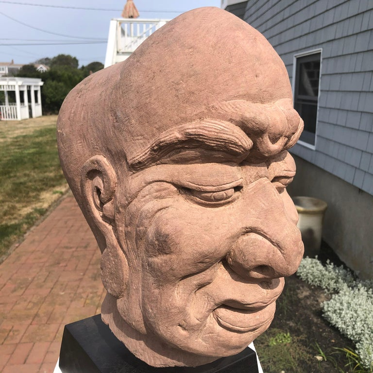 Hand-Carved Chinese Old Monumental Hand Carved Stone Garden Monk Sculpture For Sale