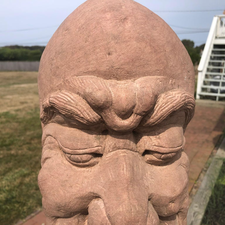 Sandstone Chinese Old Monumental Hand Carved Stone Garden Monk Sculpture For Sale