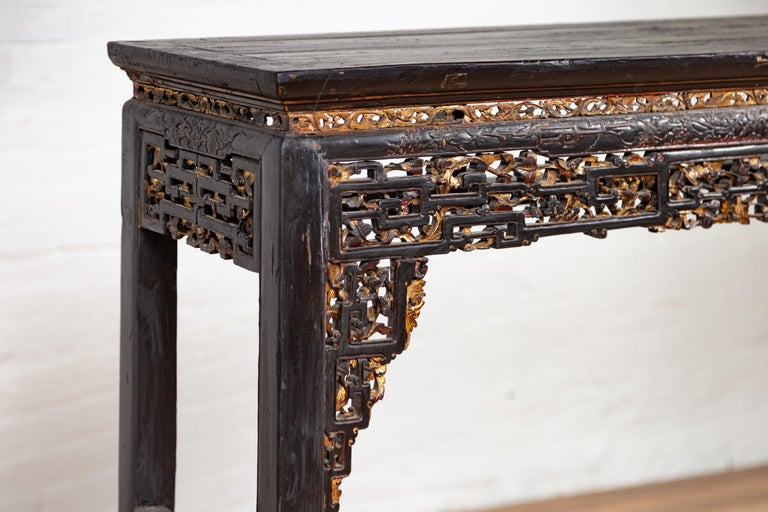 Chinese Antique Parcel Gilt Black Altar Console Table With