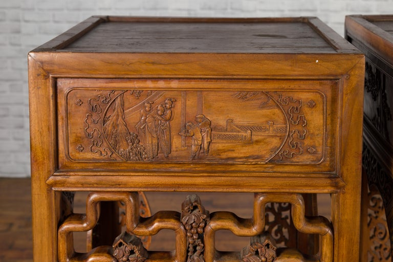 Chinese Antique Pedestal with Openwork Motifs and Hand Carved Court Scenes For Sale 8