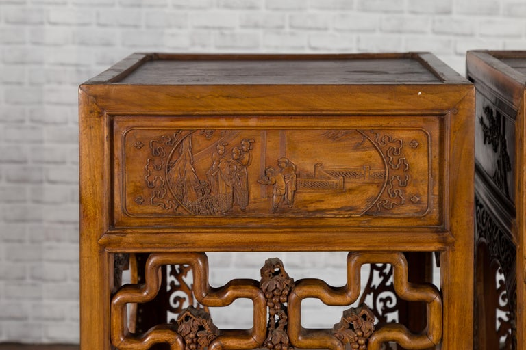 20th Century Chinese Antique Pedestal with Openwork Motifs and Hand Carved Court Scenes For Sale