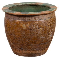 Chinese Antique Planter with Weathered Patina, Greek Key, Animals and Clouds