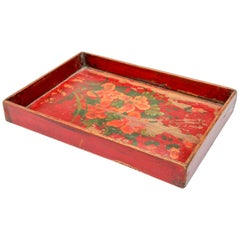 Chinese Antique Red Hand painted Wood Tray