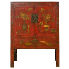 Chinese Antique Red Lacquered Armoire with Distressed Gold Floral Motifs