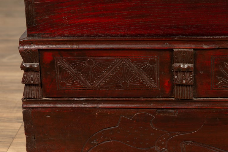 Chinese Antique Red Lacquered Trunk with Incised and Carved Motifs and Handles For Sale 1