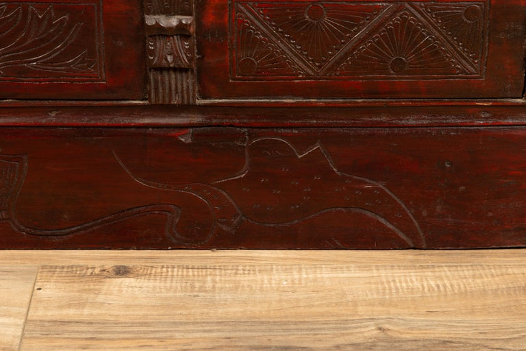 Chinese Antique Red Lacquered Trunk with Incised and Carved Motifs and Handles For Sale 4