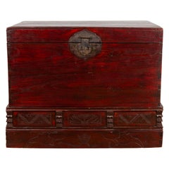 Chinese Antique Red Lacquered Trunk with Incised and Carved Motifs and Handles