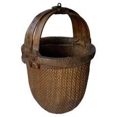 Chinese Antique Rice Basket with Bent Bamboo Handle, Early 20th Century