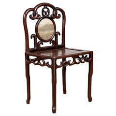 Chinese Antique Rosewood Side Chair with Open Fretwork and Marble Medallion