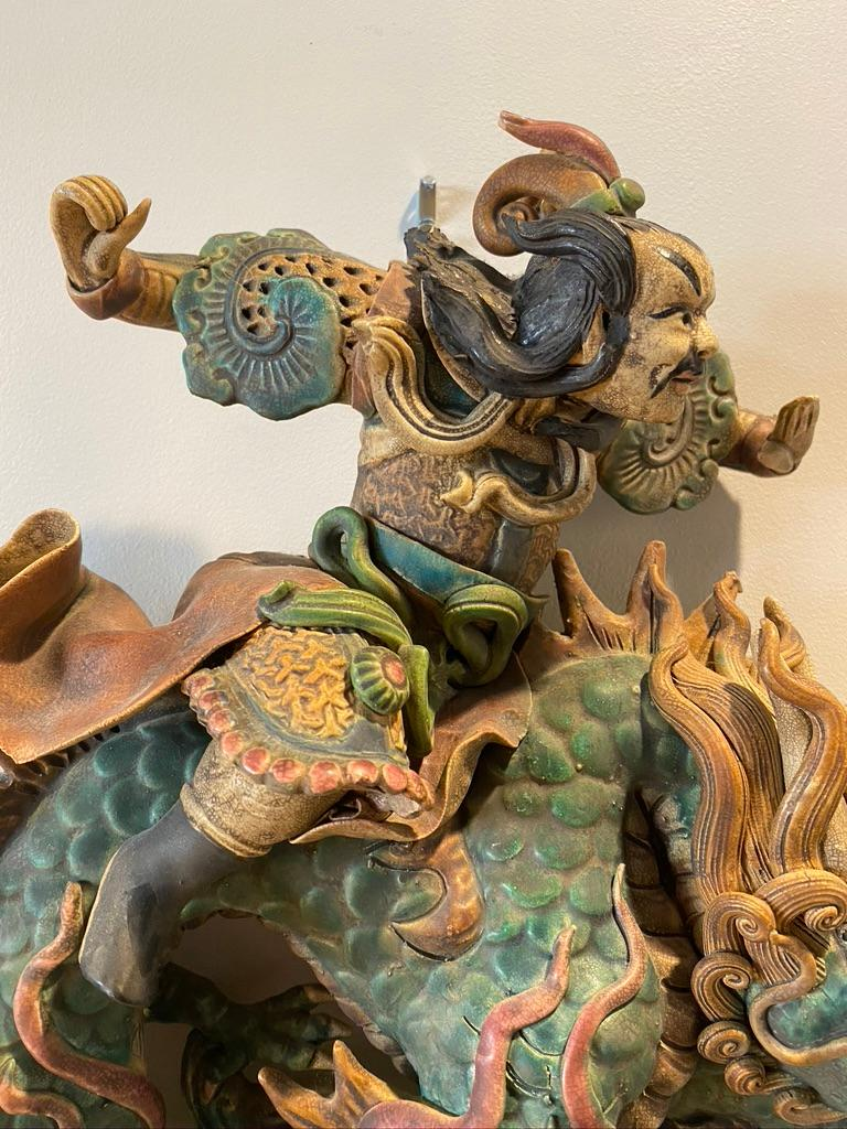 19th Century Chinese Antique Sancai Roof Tile For Sale
