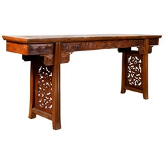 Chinese Antique Tall Altar Console Table with Meander Motifs and Carved Sides