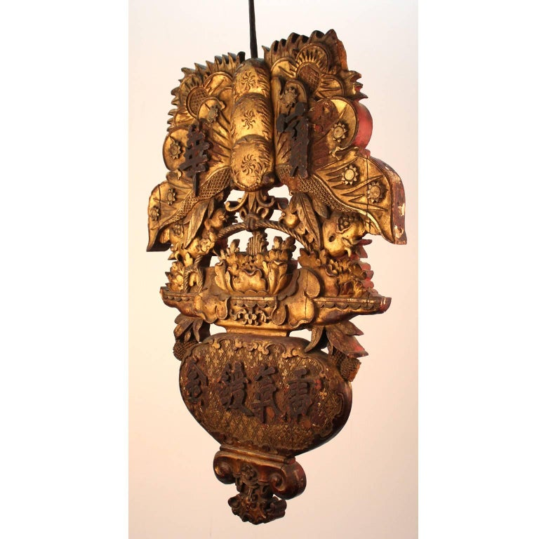 Chinese Export Chinese Antique Trade Sign in Carved Gilded Wood For Sale