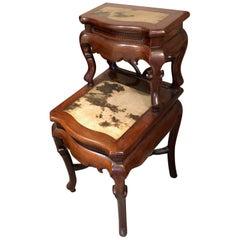 "Chinese Antique ""Tree & Bird"" Dream Stone Hardwood Table"