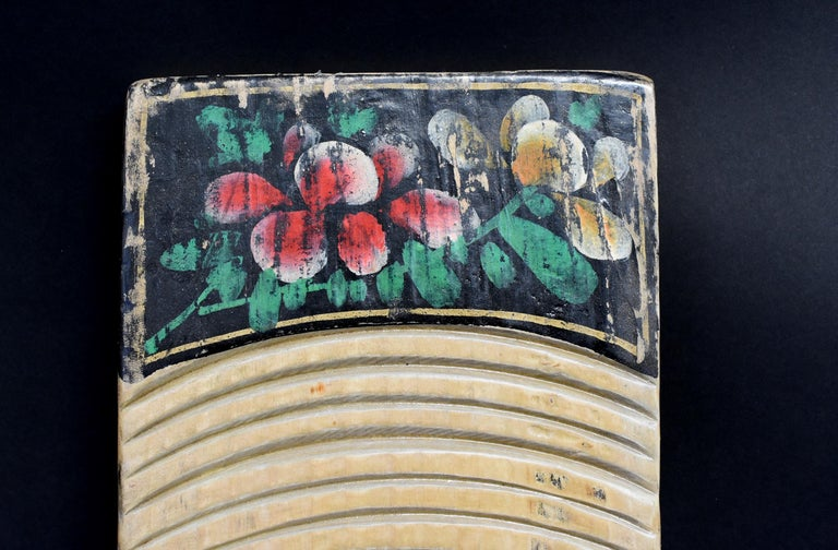 Hand-Carved Chinese Antique Washboard Hand Painted For Sale