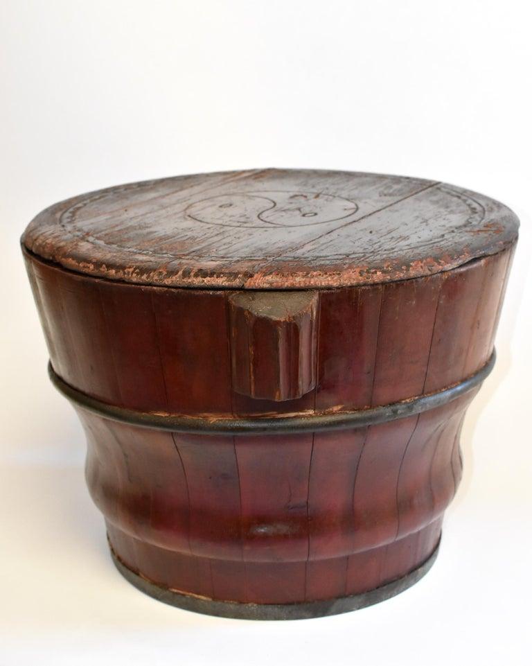 Chinese Antique Wedding Basket Bucket Yin Yang Motif For Sale 9