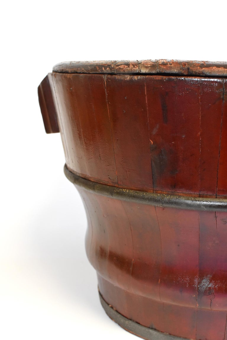 Hand-Carved Chinese Antique Wedding Basket Bucket Yin Yang Motif For Sale