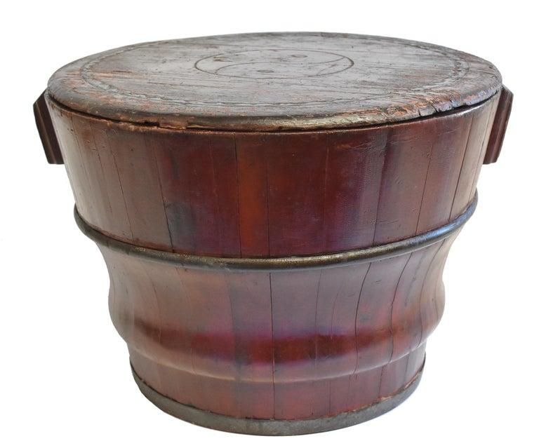 19th Century Chinese Antique Wedding Basket Bucket Yin Yang Motif For Sale