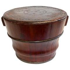 Chinese Antique Wedding Basket Bucket Yin Yang Motif