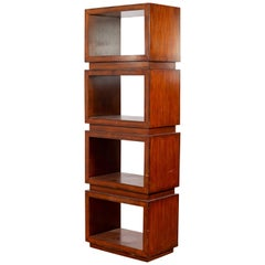 Chinese Contemporary Wooden Bookcase with Four Open Squares