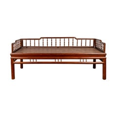 Chinese Antique Wooden Daybed with Woven Rattan Seat and Spindle Accents