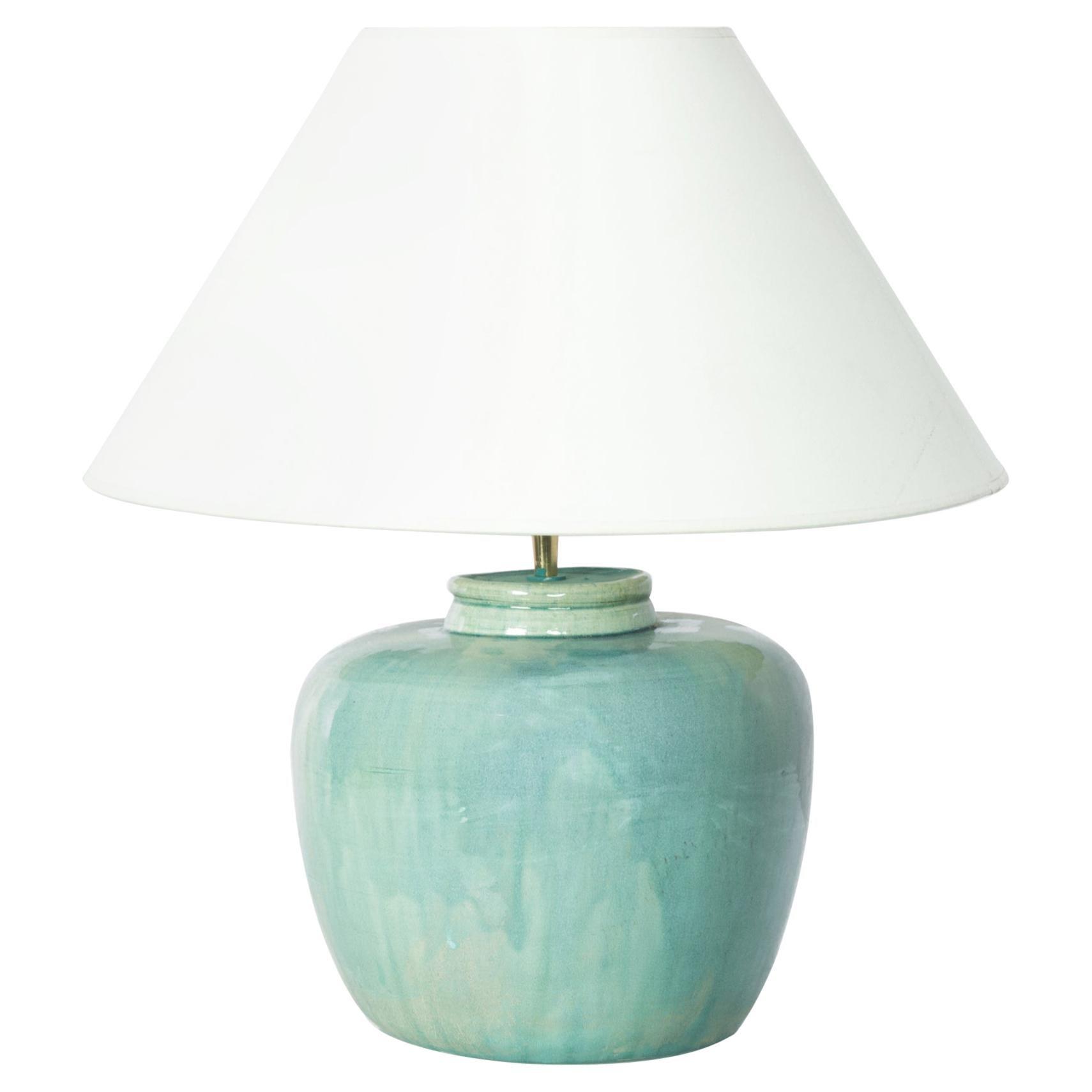 Chinese Aquamarine Ceramic Vase Table Lamp