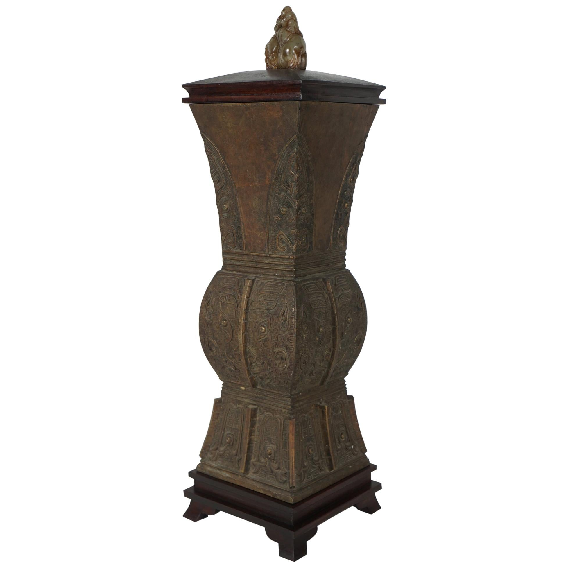 Chinese Arcaistic Style Cast Bronze Lidded Urn with Carved Jade Finial