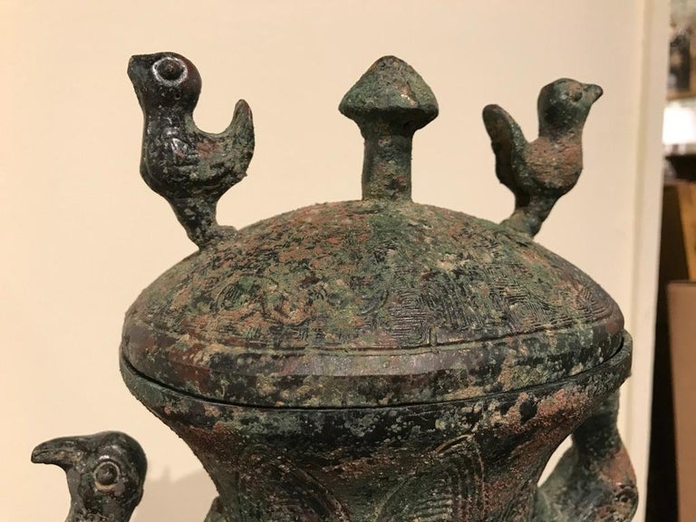 Chinese Archaistic Bronze Lidded Vessel with Bird Handles For Sale 5