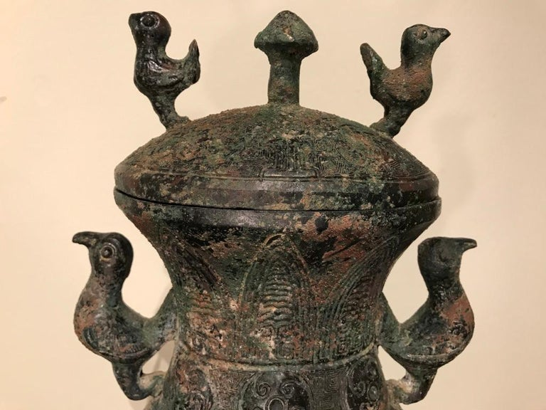 Chinese Archaistic Bronze Lidded Vessel with Bird Handles For Sale 7