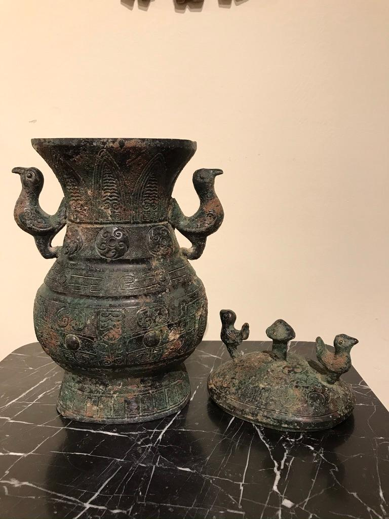 Chinese Archaistic Bronze Lidded Vessel with Bird Handles For Sale 8
