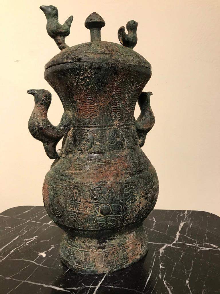 Chinese Archaistic Bronze Lidded Vessel with Bird Handles For Sale 9