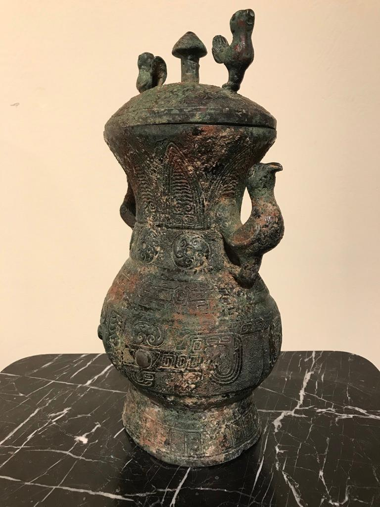 Chinese Archaistic Bronze Lidded Vessel with Bird Handles For Sale 10