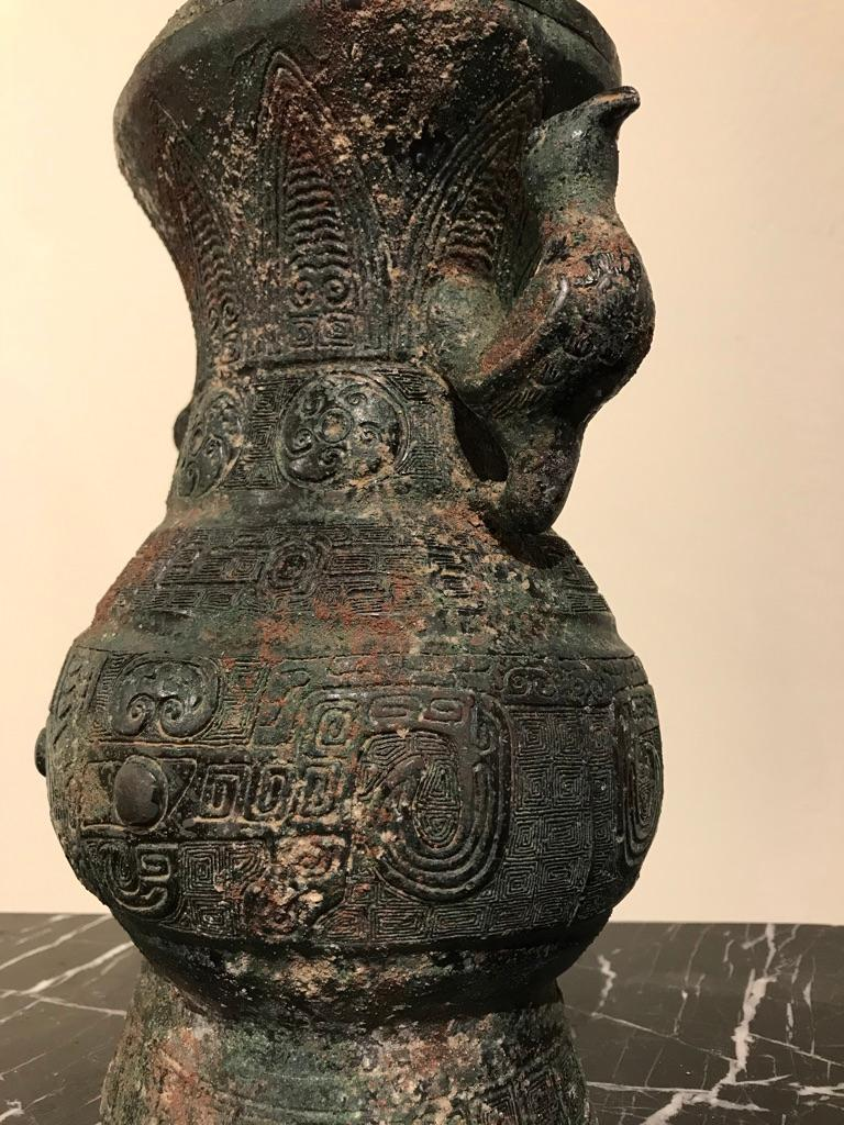 Chinese Archaistic Bronze Lidded Vessel with Bird Handles For Sale 12